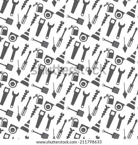 vector seamless pattern working tools sign monochrome background - stock vector
