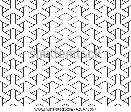 Vector seamless pattern, y tiles pattern, weaving pattern, interlocking pattern, islamic pattern - stock vector
