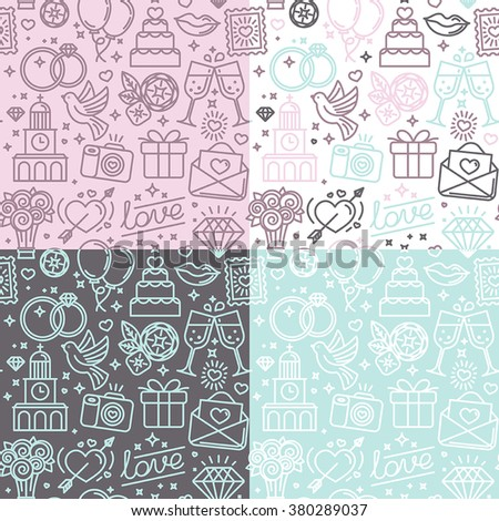 Vector seamless patterns and backgrounds for wedding invitations and valentine's card postcards and banner - love and marriage related icons in trendy linear style - stock vector