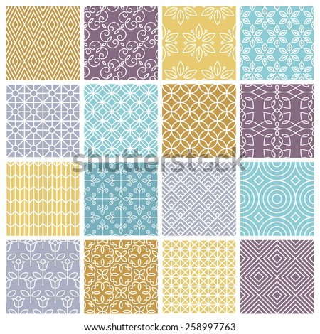 Vector seamless patterns set in trendy mono line style - 16 minimal and geometric textures - stock vector