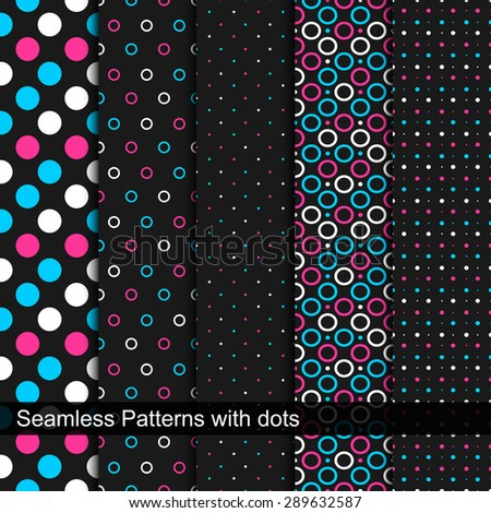 Vector seamless patterns with circles and dots. - stock vector