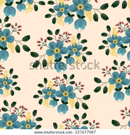 Vector seamless patterns with floral bouquets - stock vector