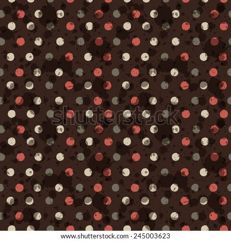 Vector seamless polka dot pattern. Grunge spotted background with paint splatter for card design, website wallpaper. EPS10 geometric abstract backdrop. Colorful repetitive textile pattern. - stock vector