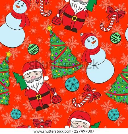 Vector seamless red background, Christmas and New Year's decorative elements.  Suitable for various designs, invitation, thank you card, wrapping paper pattern and scrapbooking. Vector 10 EPS - stock vector