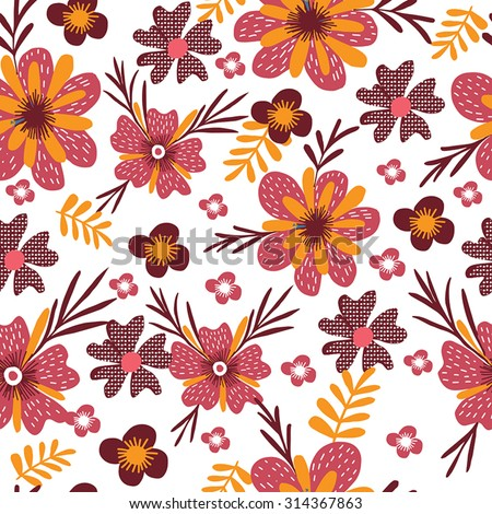 Vector seamless red flowers pattern. Gentle floral seamless pattern in bright colors. - stock vector