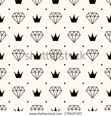 Vector seamless retro pattern, with diamonds and crowns.  - stock vector