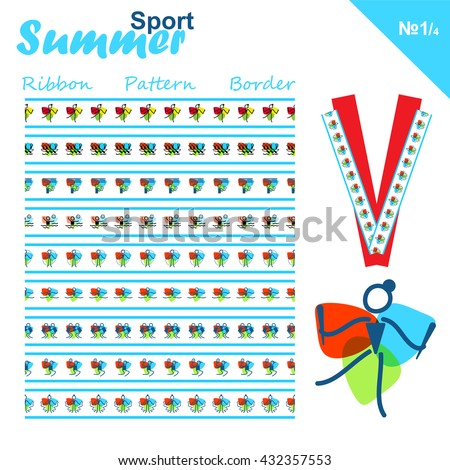 Vector seamless ribbons collection. Summer sports border set, simple line. Canoeing, Volleyball, Rhythmic and artistic Gymnastics, Tennis, Water polo and Boxing theme. Trendy colors - stock vector