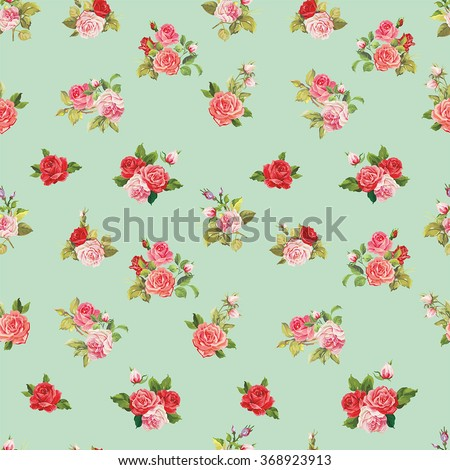 Vector Seamless roses pattern - stock vector