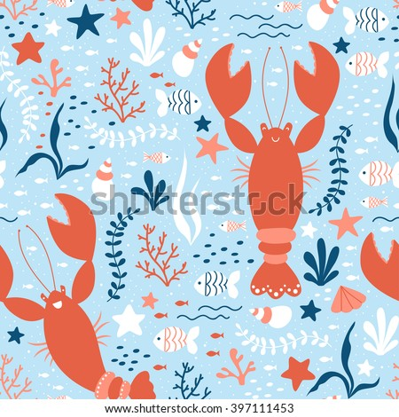 Vector seamless sea life pattern with happy lobsters - stock vector