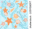 Vector seamless sea pattern. Abstract blue background with seashells, starfish and algae. Illustration with concept of seaside resort, vacation, diving. Texture for print, wallpaper, textile, cover. - stock vector