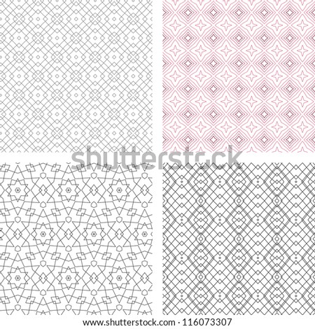 vector seamless set of abstract line floral pattern background - stock vector
