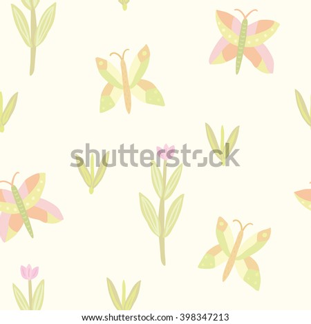 vector seamless simple floral pattern with butterflies and leaves - stock vector