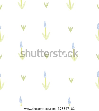 vector seamless simple flower pattern with lavender and leaves - stock vector