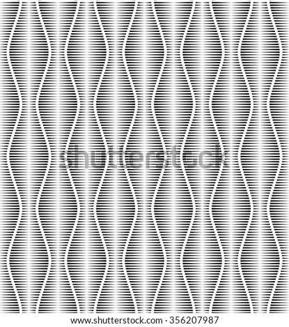 Vector seamless template. Modern geometric background. Monochrome embossed pattern of wavy lines. - stock vector