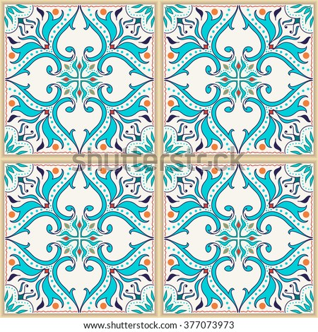 Vector seamless texture. Beautiful colored pattern for design and fashion with decorative elements. Portuguese tiles, Azulejo, Talavera; Moroccan ornaments in blue and orange colors - stock vector