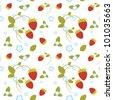 Vector seamless texture of strawberries - stock vector