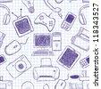 Vector seamless texture on electronics - stock vector