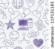 Vector seamless texture on social network - stock vector