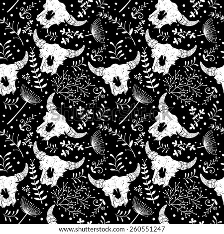 Vector seamless texture with abstract scull bulls and florals. Vector backdrop. - stock vector
