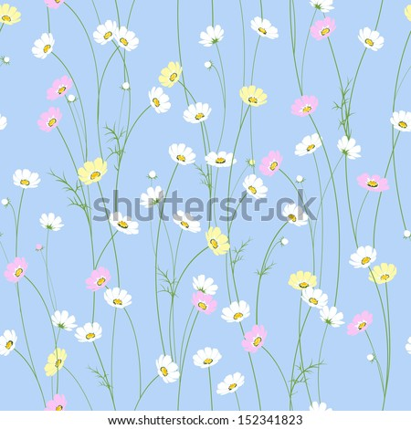 Vector seamless texture with little cute chamomile flowers - stock vector
