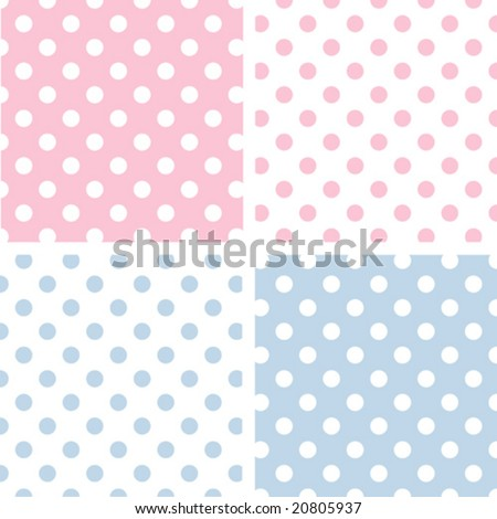 vector - Seamless Tiles: Large White Polka Dots on Pastel Pink and Blue with reverse. EPS8 includes 4 pattern swatches (tiles) that will seamlessly fill any shape. - stock vector
