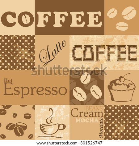 Vector seamless tiling pattern - coffee. For printing on fabric, scrapbooking, gift wrap. - stock vector