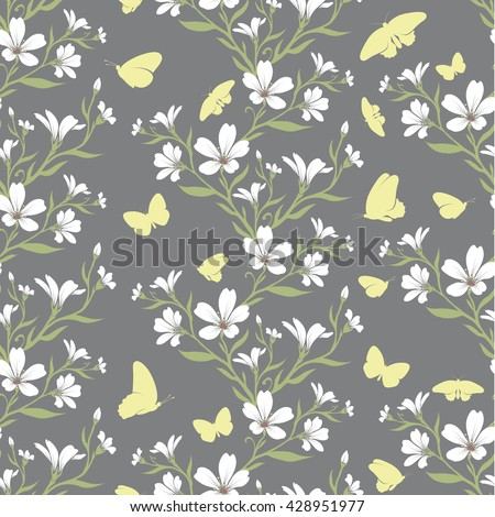 Vector seamless tiling pattern - romantic tomentosum flowers. For printing on fabric, scrapbooking, gift wrap. - stock vector