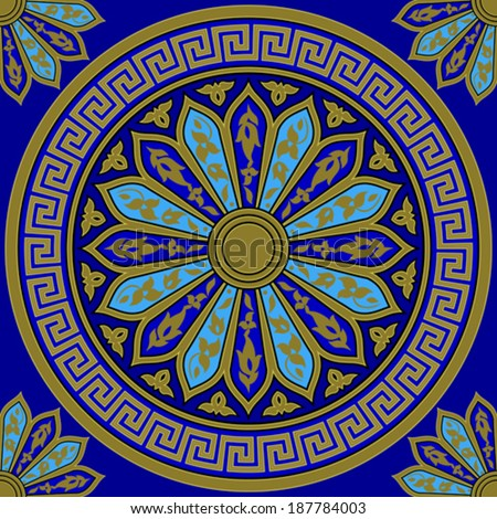 Vector seamless Traditional vintage golden round Greek ornament (Meander) and floral pattern on a blue background - stock vector