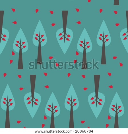 vector seamless tree pattern on green background - stock vector