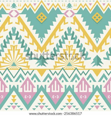 Vector Seamless Tribal Pattern. Ethnic Print Ornament. Triangles, Rhombus and Stripes - stock vector