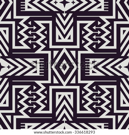 Vector Seamless Tribal Pattern for Textile Design. Monochrome Ethnic Print with Mix of Rhombuses, Triangles and Stripes - stock vector