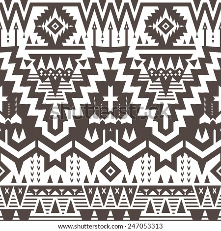 Vector Seamless Tribal Pattern. Geometrical Black and White Ethnic Background with Triangles and Stripes - stock vector