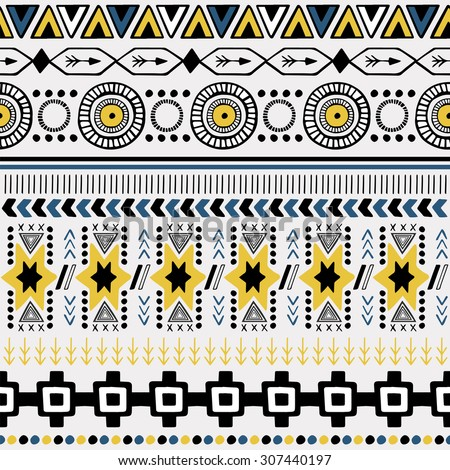 Vector Seamless Tribal Pattern. Geometrical Ethnic Print Ornament with Triangles and Stripes - stock vector