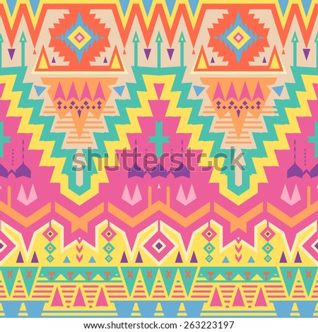 Vector Seamless Tribal Pattern in Psychedelic Colors. Ethnic Ornament with Triangles, Rhombus and Stripes - stock vector
