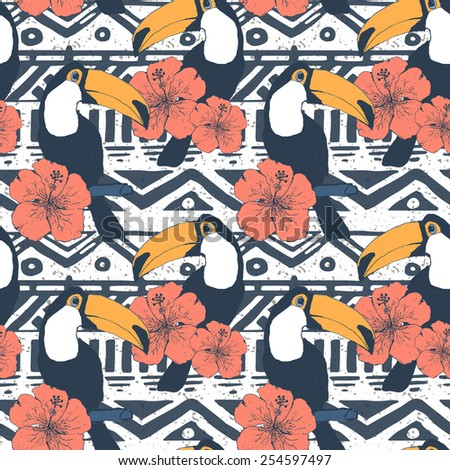 Vector Seamless Tribal Pattern with toucans. Geometrical Ethnic Print Ornament  - stock vector