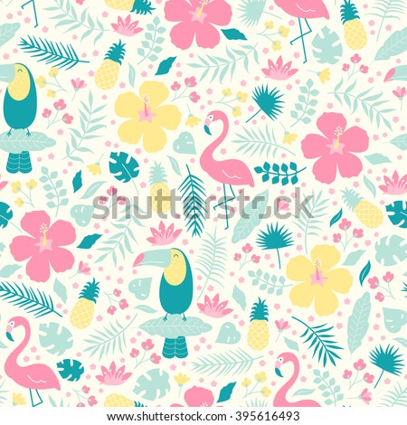 Vector seamless tropical pattern. Birds, flamingo, toucan, flowers, pineapples in the jungle. - stock vector