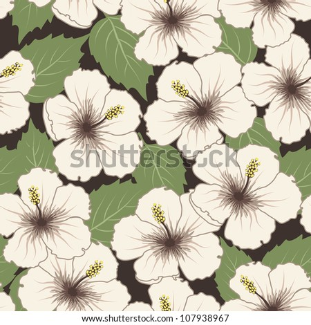 Vector seamless tropical pattern with hibiscus flowers - stock vector