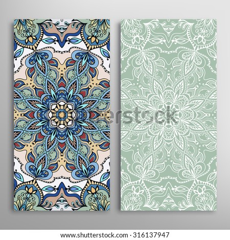 Vector seamless vertical patterns set with hand drawn texture for Wedding, Bridal, Valentine's day or Birthday Invitations. Fabric or paper print, floral geometric background.  - stock vector