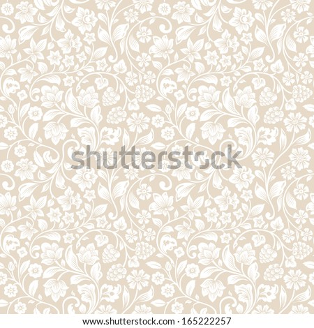 Vector seamless vintage floral pattern. Stylized silhouettes of flowers and berries on a beige background. White flowers.  - stock vector