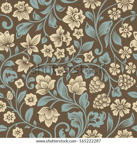 Vector seamless vintage floral pattern. Stylized silhouettes of flowers and berries on a brown background. Beige flowers with emerald leaves.  - stock vector