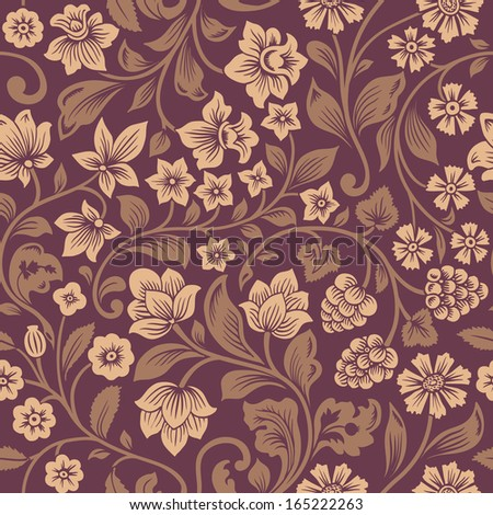 Vector seamless vintage floral pattern. Stylized silhouettes of flowers and berries on a purple background. Beige flowers with brown leaves.  - stock vector