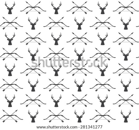 Vector seamless vintage hunting pattern with deer and bow - stock vector
