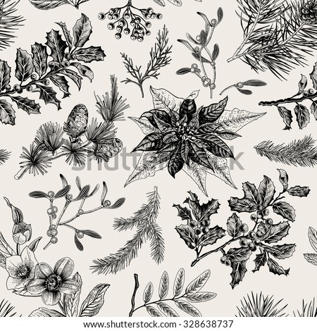 Vector Seamless vintage pattern. Christmas Botanical background. - stock vector