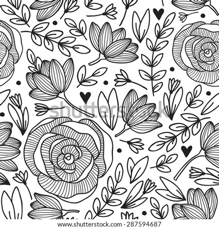 Vector seamless vintage pattern with flowers. Can be used for desktop wallpaper or frame for a wall hanging or poster,for pattern fills, surface textures, web page backgrounds, textile and more. - stock vector