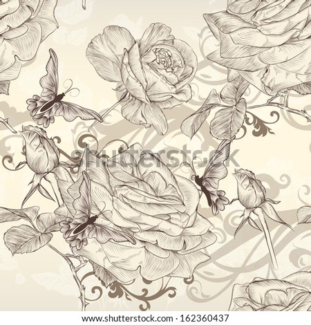 Vector seamless wallpaper pattern with roses flowers  - stock vector