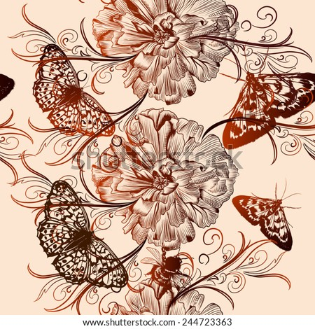 Vector seamless wallpaper pattern with vintage butterfly and flowers  for design - stock vector
