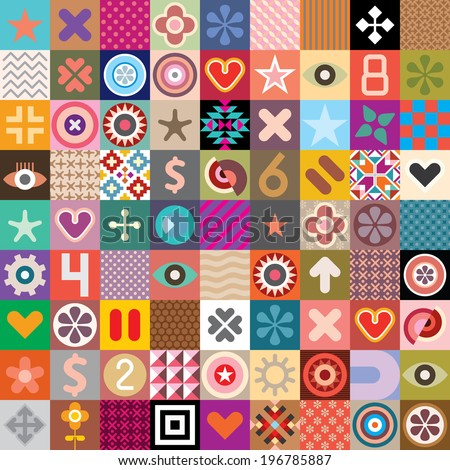 Vector seamless wallpaper with abstract symbols and native patterns. - stock vector