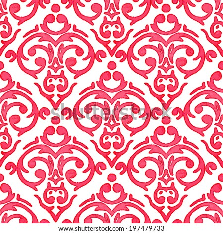 Vector seamless watercolor baroque damask luxury background - stock vector