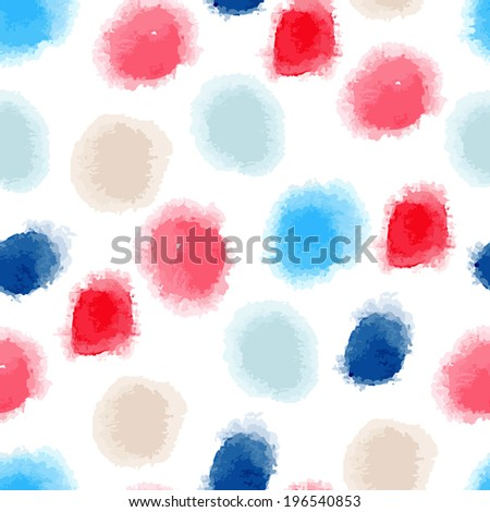 Vector seamless watercolor dots background - stock vector