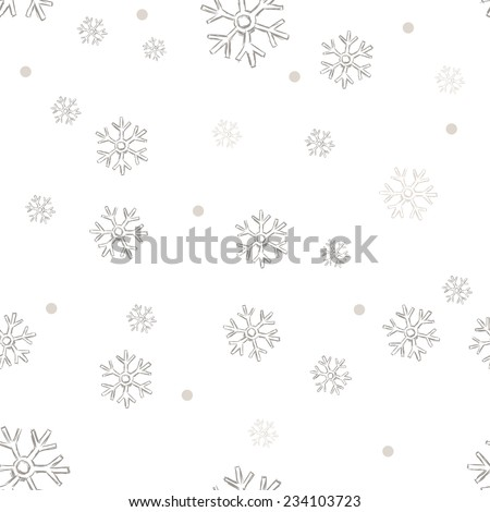 Vector Seamless Winter Pattern Background of Snowflakes - stock vector